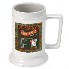16oz. Ceramic Beer Stein - House of Cards. Whether they favor a lager, ale, malt or light beer, they'll toast you whenever they pour themselves a cold one. Choose the personalized design that best suits each groomsman's hobbies: racing, golf, poker, sportsmen or the classic pub. Each personalized white ceramic mug holds 16 ounces of their favorite beverage. Specify design and personalize with first name, last name and established year. Dishwasher safe.This item takes 3-4 business days to...