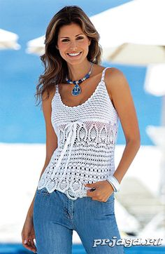 top blanc aux motifs ananas- Free crochet top pattern with links to other free patterns. Charts only Débardeurs Au Crochet, Mode Crochet, Crochet Woman, Crochet Crafts, Crochet Bikini, Crochet Diagram, Crochet Tank Tops, Crochet Summer Tops, Crochet Shirt
