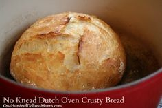 No Knead Dutch Oven Crusty Bread