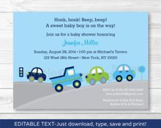 Cute Car Baby Shower Invitation / Car Baby by LittlePrintsParties