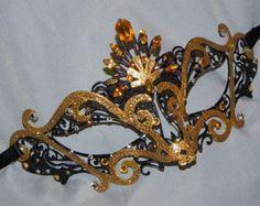 Black Rhinestone Metallic Masquerade Mask by TheCraftyChemist07