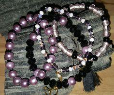 Ensemble 4 bracelets perles verre mauve et noir : Bracelet par vel