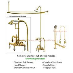 brass clawfoot tub shower kit. Polished Brass Clawfoot Tub Faucet Shower Kit with Enclosure Curtain Rod  111T2CTS Bathroom ideas Faucets and faucet
