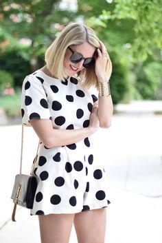 Love it! Polka dot chic romper:: Vintage Fashion ::Retro Style:: Pin Up fashion:: Polka Dot Romper