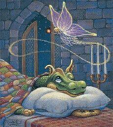 En los sueños todo es posible, hasta ser un pequeño dragón iluminado por un hada. Dulces y mágicos sueños. Gracias.