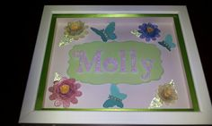 Butterfly and flower personalized name frame shadowbox for girl's room