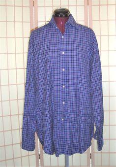 TAILORBYRD Sz L Men's Cobalt Blue Black & Pink Check Button Front Dress Shirt #TAILORBYRD