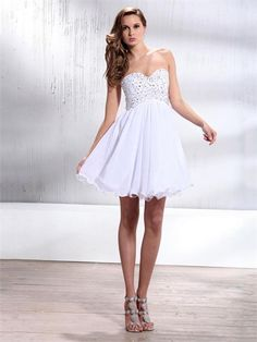 Strapless Sweetheart with Beadings A-line Short Chiffon Homecoming Dress HD1959 www.homecomingstore.com $122.0000