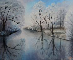 `Crystal silence` Winter landscape. Oil painting Winter Landscape, Christen, Art For Sale, Oil, Crystals, Canvas, Pictures, Painting, Etsy