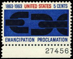 Georg Olden, Emancipation Proclamation stamp, 1963. He was the first African American to achieve prominence as a graphic designer