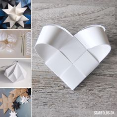 Starfolds.dk Top blog posts 2015 Diy Snowflake Decorations, Christmas Decorations, Paper Crafts Origami, Diy Paper, Oragami, Handmade Christmas, Christmas Crafts, Christmas Ornaments, Paper Weaving