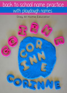 back to shool name practice with playdough names - Stay At Home Educator Writing Activities For Preschoolers, Spelling Activities, Back To School Activities, Alphabet Activities, Literacy Activities, Preschool Alphabet, September Activities, Preschool Literacy, Preschool Names