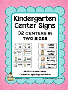 Center Signs. Organize your center board or use in a pocket chart. 32 centers in two sizes. Canadian spelling and free customization available.