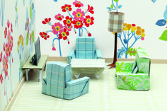 Image from 'The Origami Home: Beautiful Miniature Furniture Projects' by Mark Bolitho. www.jacquismallpub.com