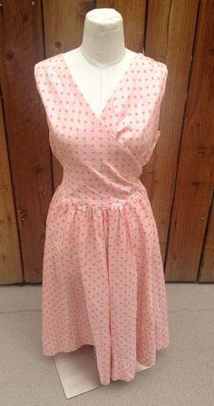 LOVELY Light & Hot Pink Polka Dot ANNE FOGARTY Full Skirt Dress 50's