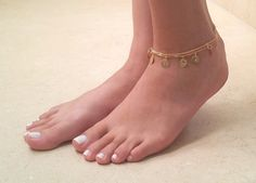 Delicate Gold Coin Anklet  Multistrand Ankle by baronykajd on Etsy
