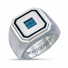 Arctic Blue Men's Diamond Ring   The Danbury Mint Brown Gemstone, Diamond Sizes, Signet Ring, Custom Engraving, Blue Diamonds, Arctic, Fashion Rings, Rings For Men, Jewelry Rings