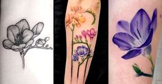 Originally native to the eastern side of southern Africa, the freesia is another flower gaining popularity in the tattooing scene. Cover Tattoo, I Tattoo, Pretty Tattoos, Cool Tattoos, Birth Flower Tattoos, Tattoo Flowers, Forget Me Not Tattoo, Infinity Tattoo On Wrist, Black And Grey Rose
