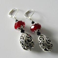 Berry Season silver earrings