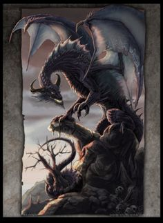 A fantasy poster of a menacing brown dragon that's perched on a rocky cliff leering down. Art by Drakhenliche. Dragon Images, Dragon Pictures, Magical Creatures, Fantasy Creatures, Fantasy Dragon, Fantasy Art, Dragon Medieval, Dragons, Dragon Heart