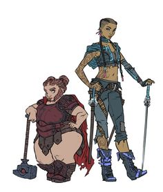 A couple of my D&D characters. Veysha, a dwarf war cleric, and Rova, a human swashbuckler. DnD: Veysha and Rova Fantasy Character Design, Character Creation, Character Drawing, Character Design Inspiration, Character Concept, Concept Art, Character Ideas, Dungeons And Dragons Characters, D D Characters