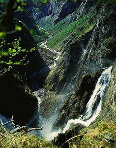 Norway's best known waterfall, Vøringsfossen in Hardanger. 182 meters.