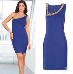 Modré šaty se zlatým kovovým zdobením, v. 38