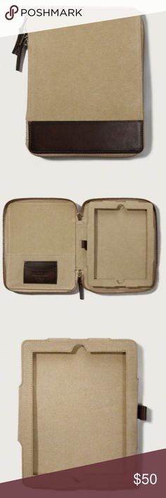 Abercrombie & Fitch Ipad Case Khaki & Leather NWT Trendy portfolio case with leather detailing and zipper closure, fits iPad generations 1-4 Abercrombie & Fitch Accessories Tablet Cases