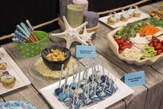 Ocean-theme snack display ideas for your VBS volunteer meetings at Ocean Commotion! #vbs2016