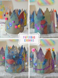Children make crowns from paper grocery bags. Fairy Tale Crafts, Fairy Tale Theme, Princess Crafts, Princess Theme, Disney Princess, Fairy Tale Activities, Preschool Activities, Kids Crafts, Fairy Tales Unit