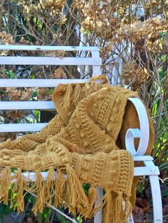 Hand crocheted bobble throw in Mustard - Hand knitted throws Accessories & Gift ideas