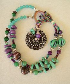 Boho Turquoise Necklace, Southwest Necklace, Multi Color Necklace, Stone Necklace, Bohemian. $162.00, via Etsy.