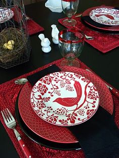 Love the red and black for my red and black dining room.
