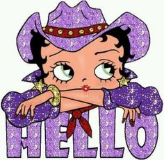 "Glittery purple cowgirl ""Hello"""
