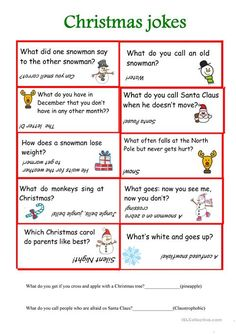 Christmas jokes worksheet - Free ESL printable worksheets made by teachers Holiday Games, Christmas Party Games, Christmas Activities, Christmas Traditions, Holiday Fun, Christmas Jokes For Kids, Christmas Worksheets, Christmas Printables, Christmas Holidays
