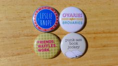Leslie Knope button set Parks & Recreation 4 x 1 http://www.wittybutons.com