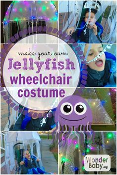 Looking for a fun wheelchair costume idea for Halloween? How about making your own jellyfish wheelchair costume. Easy Halloween, Holidays Halloween, Halloween Costumes For Kids, Halloween Crafts, Halloween Party, Halloween 2017, Halloween Stuff, Turtle Costumes, Boy Costumes