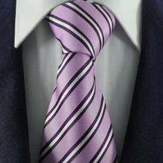 Violet & White Striped Neckties / Formal Business Neckties.