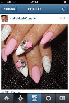 Gel nails, i like the bling just maybe not the flower