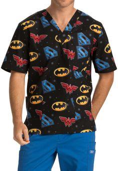 Cherokee Tooniforms Medical Scrubs Justice League Top Sz XS-XXL NWT #CherokeeTooniforms