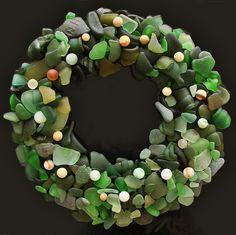 The ultimate sea glass Christmas gift! Sea Glass Beach, Sea Glass Art, Sea Glass Jewelry, Glass Beads, Christmas Time, Christmas Crafts, Merry Christmas, Christmas Wreaths, Xmas
