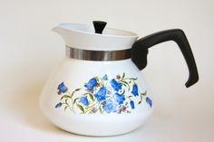 Vintage Corning Ware Canterbury Blue Bell Flowers 6 Cup Coffee Pot Teapot $22 by LittleShopofWhatNots on Etsy