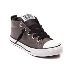 Shop for YouthTween Converse Chuck Taylor Street Sneaker in Charcoal at Journeys Kidz. Shop today for the hottest brands in mens shoes and womens shoes at JourneysKidz.com.Add a a little swag to your style with the new Chuck Taylor Street Mid! This fun and hip new style from Converse Chuck Taylor features a mid top synthetic leather upper, lace up closure, padded tongue and ankle collar, contrasting heel pull tab and tongue, and durable rubber outsole. Only available online at ...