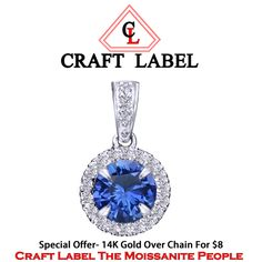 """14K Gold Round Brilliant Cut Blue Sapphire Halo Pendant Without Chain """"Mother\'s Day Gift"""". Starting at $1"""