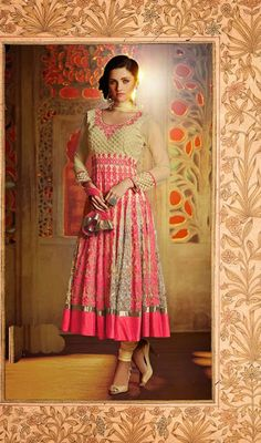 Cream and Fuchsia Net Embroidered Anarkali Suit Price: Usa Dollar $363, British UK Pound £212, Euro268, Canada CA$390 , Indian Rs19602.