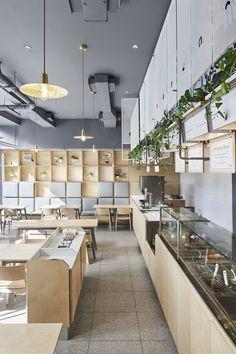 Interior Design Columbia Sc: Gallery Of Junzi Kitchen Columbia University / Xuhui Zhang Cafeteria Design, Japan Design, Sala Vip, Cafe Design, Interior Design, Self Service, Do It Yourself Home, Commercial Interiors, Restaurant Design