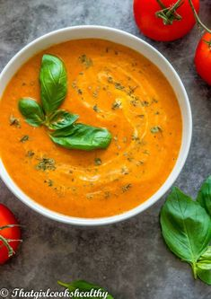Roasted red pepper tomato soup consists of a creamy soup made from charred red bell peppers combined with tomatoes, fragrant basil and homemade vegetable stock. It's low carb and perfect to consume any time of year. Tomato Vegetable, Vegetable Stock, Tomato Soup, Bell Pepper Soup, Vegan Roast, Tasty Vegetarian Recipes, Girl Cooking, Healthy Cooking, Cooking Tips