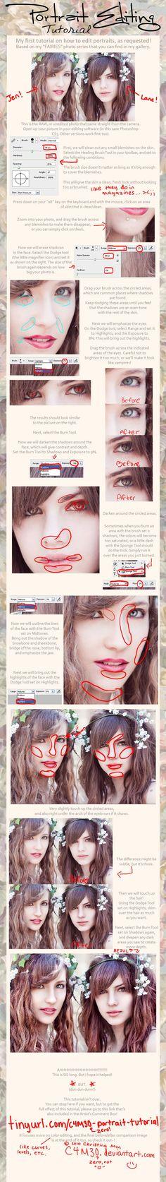 .:Portrait Editing TUTORIAL:. by C4M30.deviantart.com on @deviantART