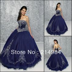 2015 New Dark Blue Quinceanera Dresses With Sweetheart Appliques Ball Gown Organza For 15 Years Vestido De 15 Anos