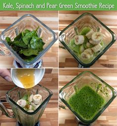 Kale, Spinach and Pear Green Smoothie Recipe (St. Patrick's Day healthy snack alternative)